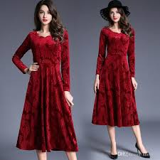 red long casual dresses for ladies with sleeves scoop a line