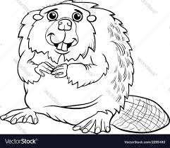 beaver animal cartoon coloring page royalty free vector