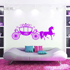 online get cheap cinderella and horse aliexpress com alibaba group large wall art girl gift princess cinderella horse carriage vinyl decals personalized girls name stickers
