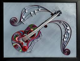 customized quilled guitar wall art musician art musical
