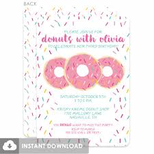 donut party diy printable invitations pink donut party