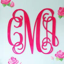monogram initials large wood monogram 30 script initials caden