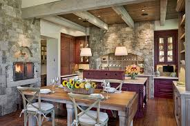 fireplace in kitchen home design