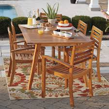 Acacia Wood Dining Room Furniture by Westerly Acacia Wood 6 Person Saddle Table Patio Furniture