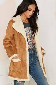 glamorous that s the way shearling coat in brown lyst