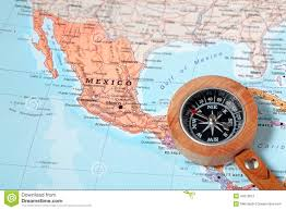 Mexico On A Map by Travel Destination Mexico Map With Compass Stock Photo Image