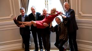 the surviving members of the monty python comedy group from left