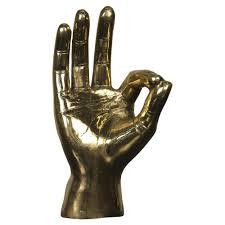 ok sign industrial loft decorative brass hand sculpture kathy