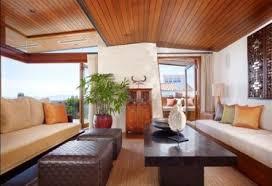 natural elegant wooden house livingroom interior with cream sofas