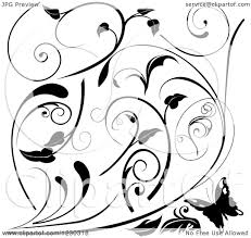 clipart of a butterfly and black and white floral scroll designs