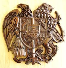 armenia armenian coat of arms wall mount hand made wood carved