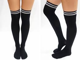 athletic stripe thigh high socks tights black sandysshop