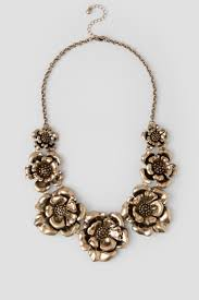 metal flower necklace images Mariska metal flower statement necklace francesca 39 s tif&a