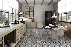 cuisine sol carrelage cuisine blanc et noir decoration salle de bain