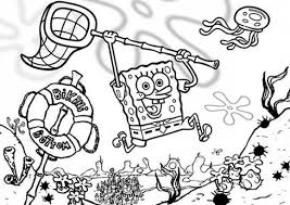 spongebob catching jellyfish coloring pages cartoon coloring