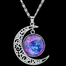 purple necklace images Artificial gem moon round pendant necklace in purple jpg