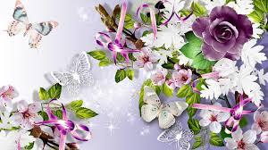 lots of flowers butterflies hd desktop wallpaper widescreen