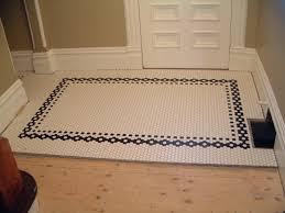 tiny 2 bathroom with hexagon tiles on shower floor ideas