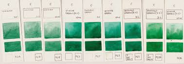 jane blundell artist watercolour comparisons 5 greens