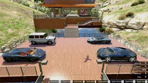 luxury wooden villa garage helipad pool gta5 mods com