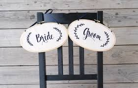 Bride And Groom Chair Signs Bride U0026 Groom Embroidered Hanging Chair Signs Heather Clara Designs