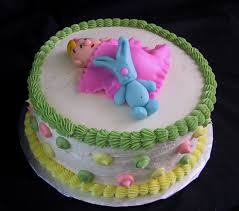 baby shower cake with fondant baby and blue bunny rabbit the