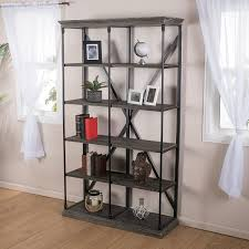 amazon com alondra 5 shelf industrial dark tan grey wood