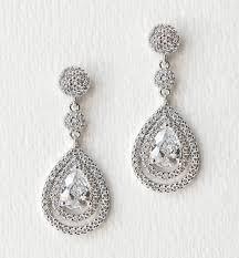 silver drop earrings wedding bridal cz earrings silver drop earrings o bridal