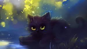 cute black cat painting wallpaper 19201080 see more on classy