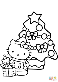 kitty christmas coloring free printable coloring pages