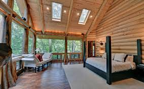 atlanta log cabin bedroom rustic with seating upholstered canopy
