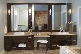 modern brown stained mahogany wood double vanity with three
