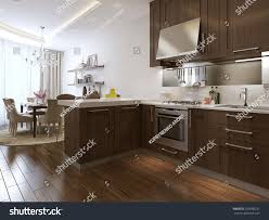 kitchen diner neoclassical style 3d images stock illustration