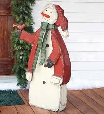 crafted large wooden indoor outdoor snowman indoor