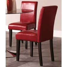 Red Parsons Chairs Roland Red Bonded Leather Dining Chairs By Christopher Knight Home
