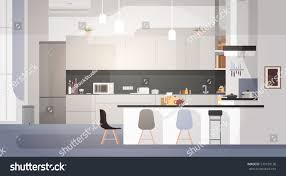 modern kitchen interior empty no people stock vector 570159136