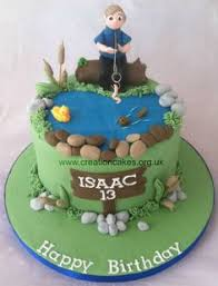 fishing pond cake with pretty blue water going to add beavers to