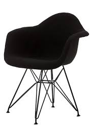 replica eames upholstered arm chair with black steel legs for