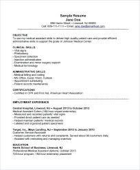 resume templates for medical assistants resume resume exle for medical assistant template 8 free