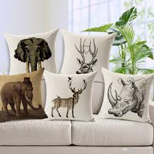 Branch Decorations For Home by African Animal Sofa Cushion Covers Rhino Deer Elephant Pillow