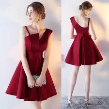 2017 new simple burgundy strapless cocktail dresses short formal