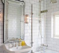 Mirrored Subway Tile Backsplash Bathroom Transitional With by Designer Wall Mirrors Bathroom Transitional With White Subway Tile