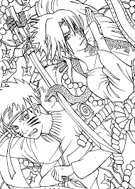 naruto vs sasuke anime coloring pages for kids printable free