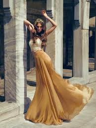 long evening dress gold prom dresses fashion two piece design lace