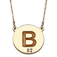 gold monogram initial necklace 10k gold engraved initial and diamond accent necklace 7116490 hsn