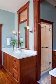 Craftsman Style Bathroom Mission Style Bathroom Bathroom With Glass Backsplash Glass Tiles