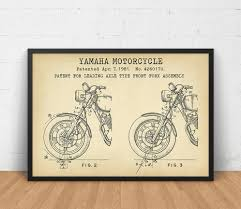 motorcycle wall art etsy yamaha motorcycle poster printable front fork assembly patent print boys room decor wall art vintage blueprint