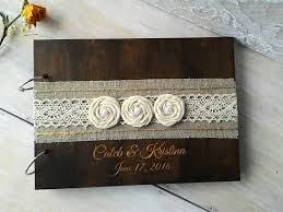 engravable wedding guest book wedding guest books burlap lace rustic guest book wooden