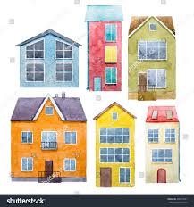 watercolor drawing isolated cute little house stock illustration