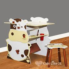 kids animal table and chairs kids cow wooden table chair desk set black board drawing